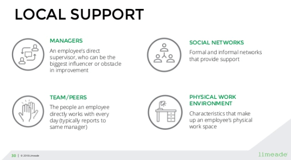 Local support includes managers, social networks, team/peers, and the physical work environment