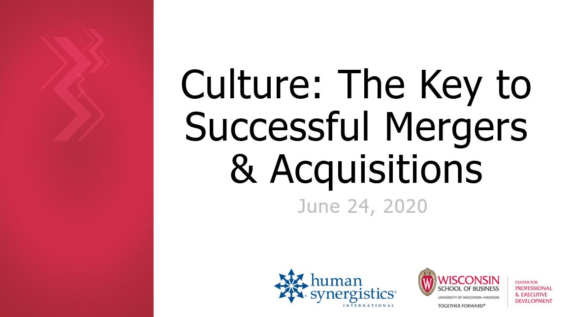 WEBINAR Culture: The Key to Successful Mergers & Acquisitions