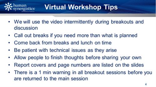 virtual workshop tips